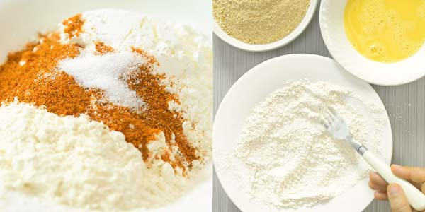 mixing flour with cajun spice and salt