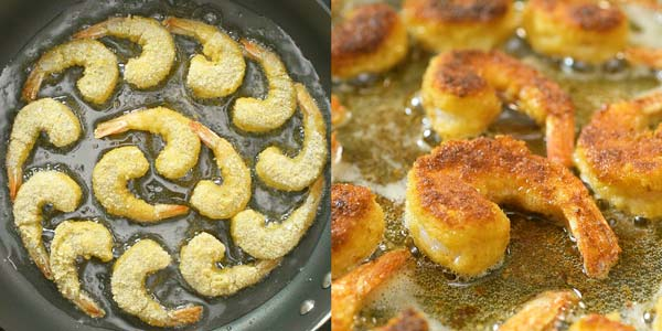 frying shrimp in oil