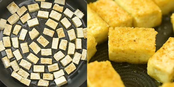 frying tofu in oil
