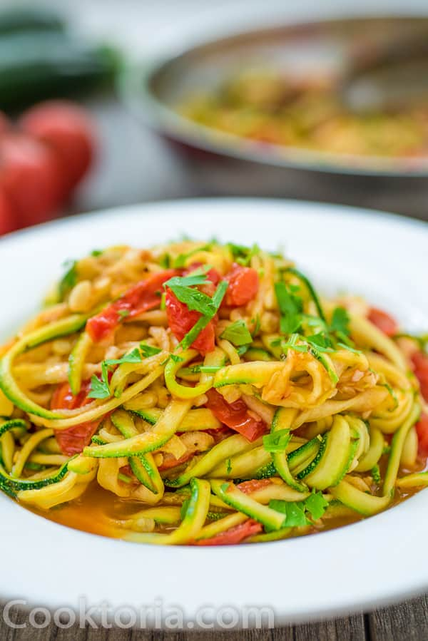 Zucchini Noodles on a white plate