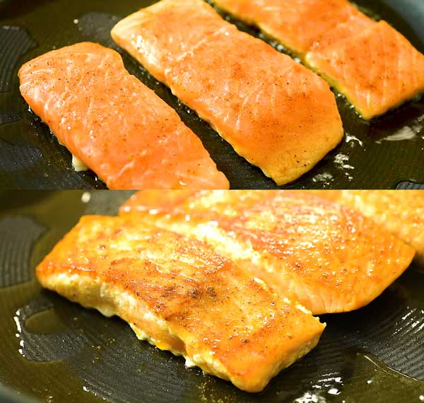 searing the salmon in oil