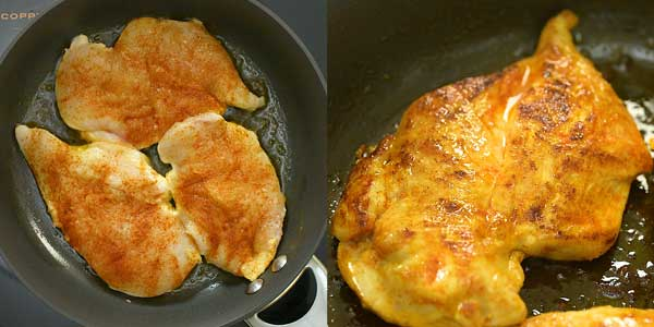 frying the chicken in the skillet