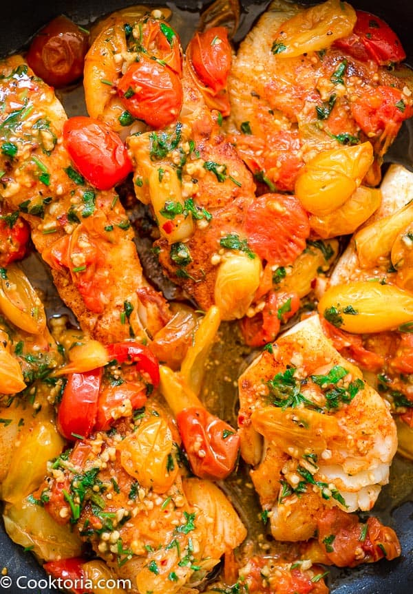 Cod Fish in the Skillet with Tomato Sauce