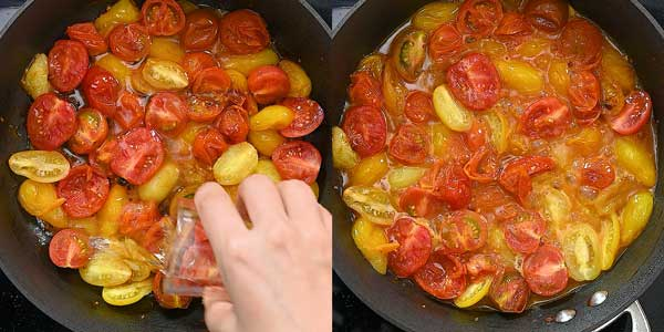 adding wine to the tomatoes