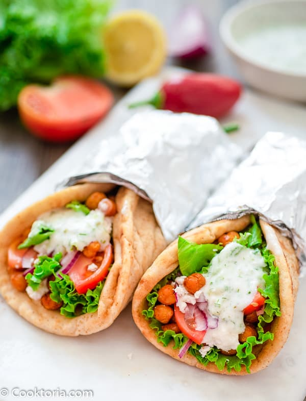 vegetarian gyros with vegetables on the background