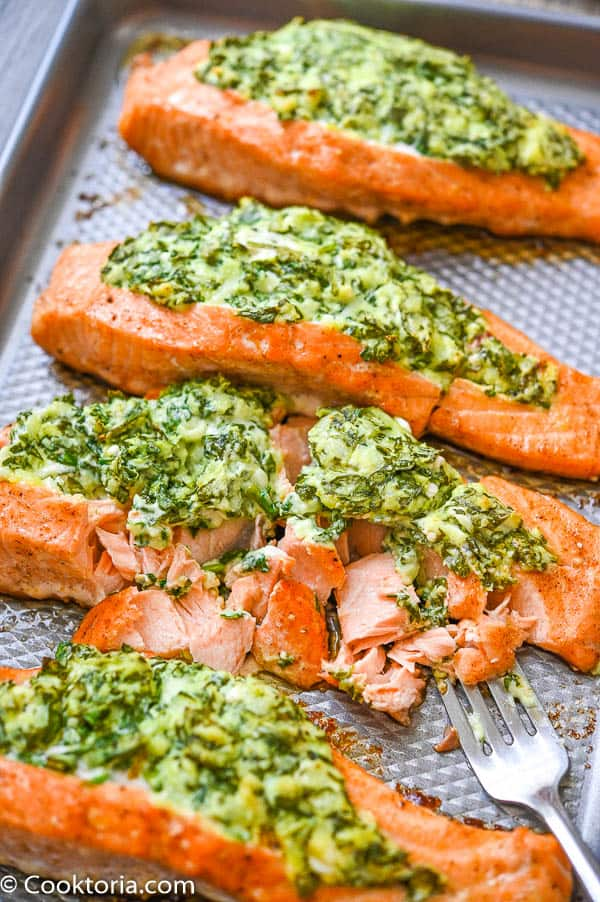 Flaked Spinach Stuffed Salmon