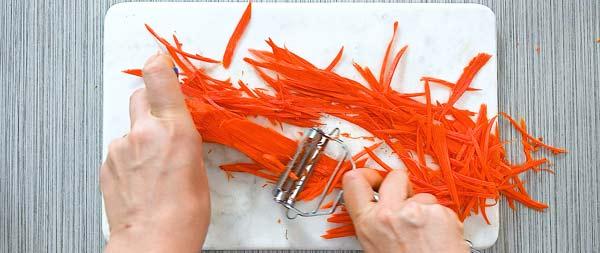 julienne carrots using a peeler