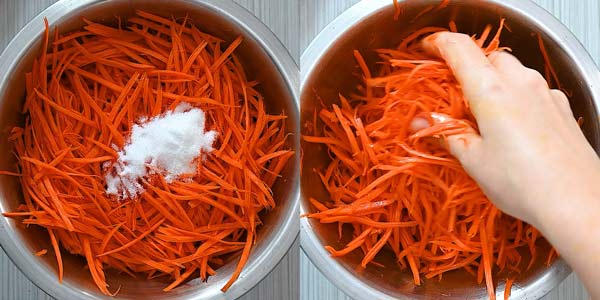 massaging carrots with sugar and salt