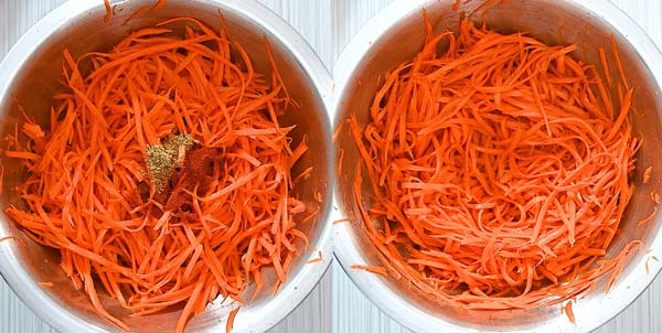 adding spices to carrot salad