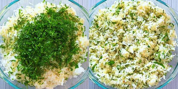 mixing shredded potatoes with onion and herbs