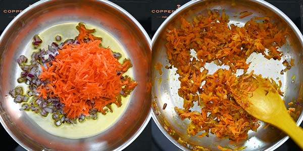 cooking carrot and onion in olive oil