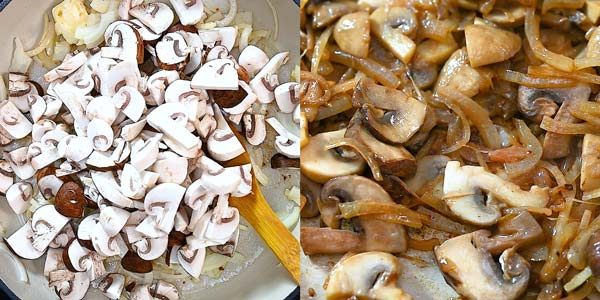 adding onion and mushrooms