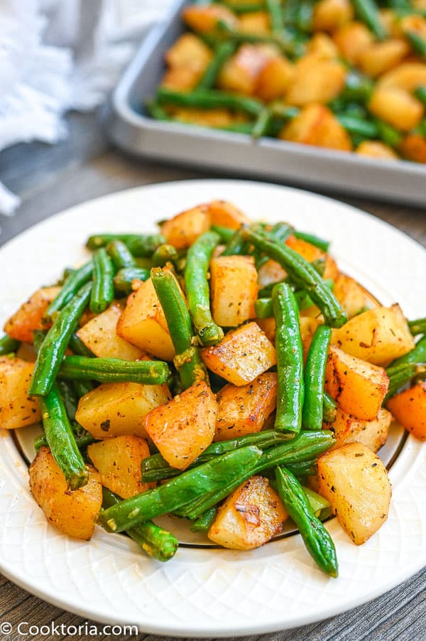 green beans and potatoes on a plate