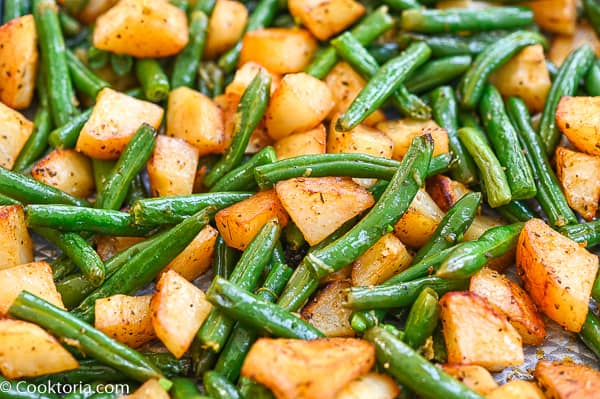 green beans and potatoes from up close