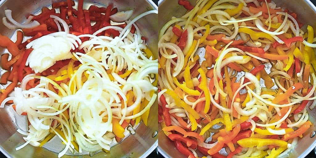cooking bell peppers and onion