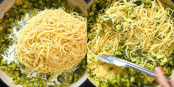 adding pasta to broccoli