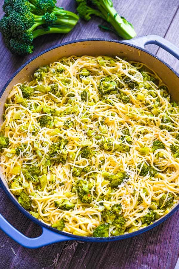 broccoli pasta with vegetables on the background