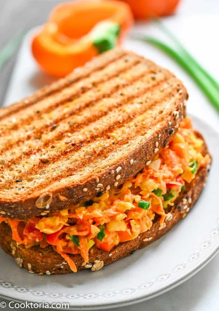 Chickpea Carrot Salad on a toasted bread