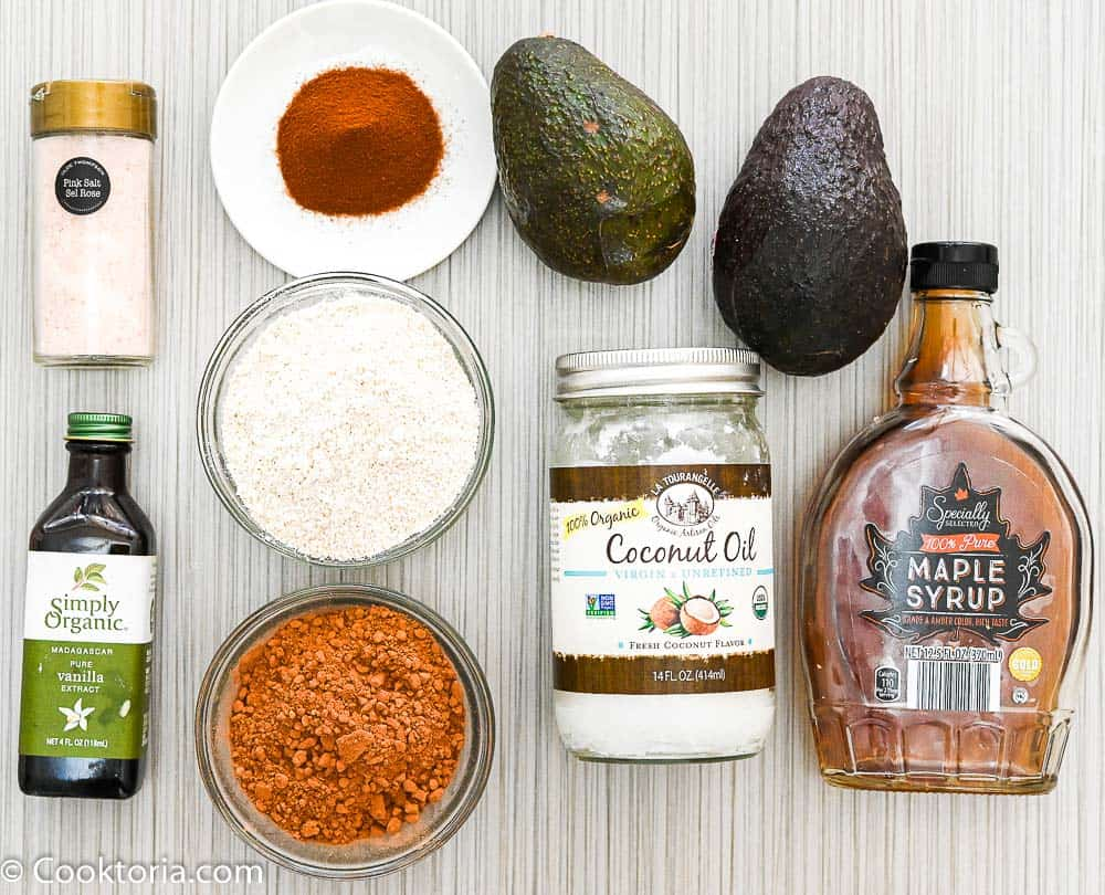 Ingredients for avocado brownies