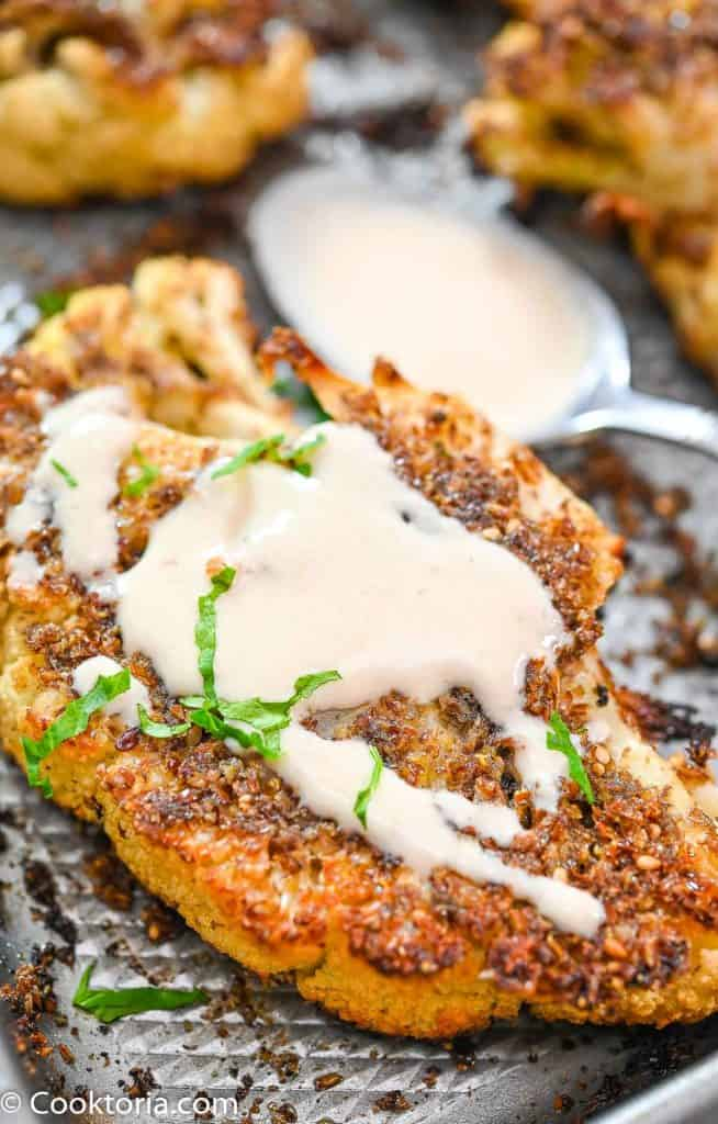 Cauliflower Steak with tahini sauce