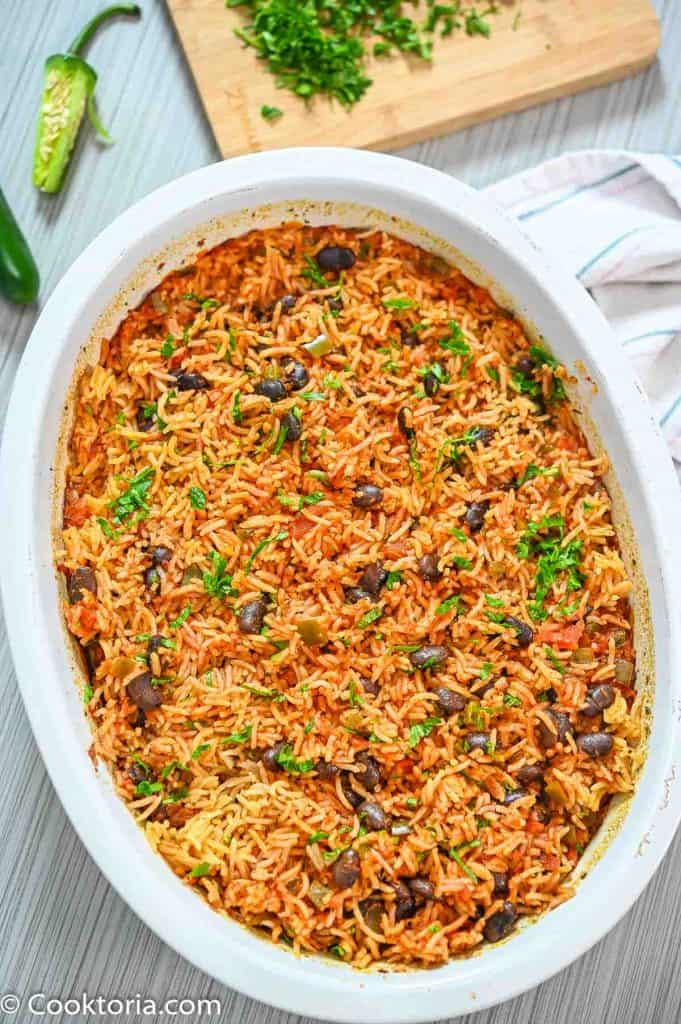 Baked rice and beans in a casserole dish