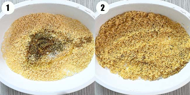 mixing basmati rice with spices and oil