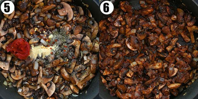 adding spices to the mushrooms
