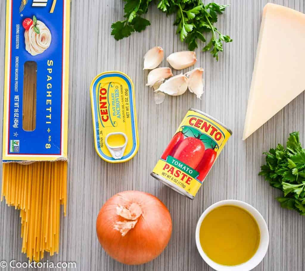 Ingredients for Pasta with Tomato Sauce
