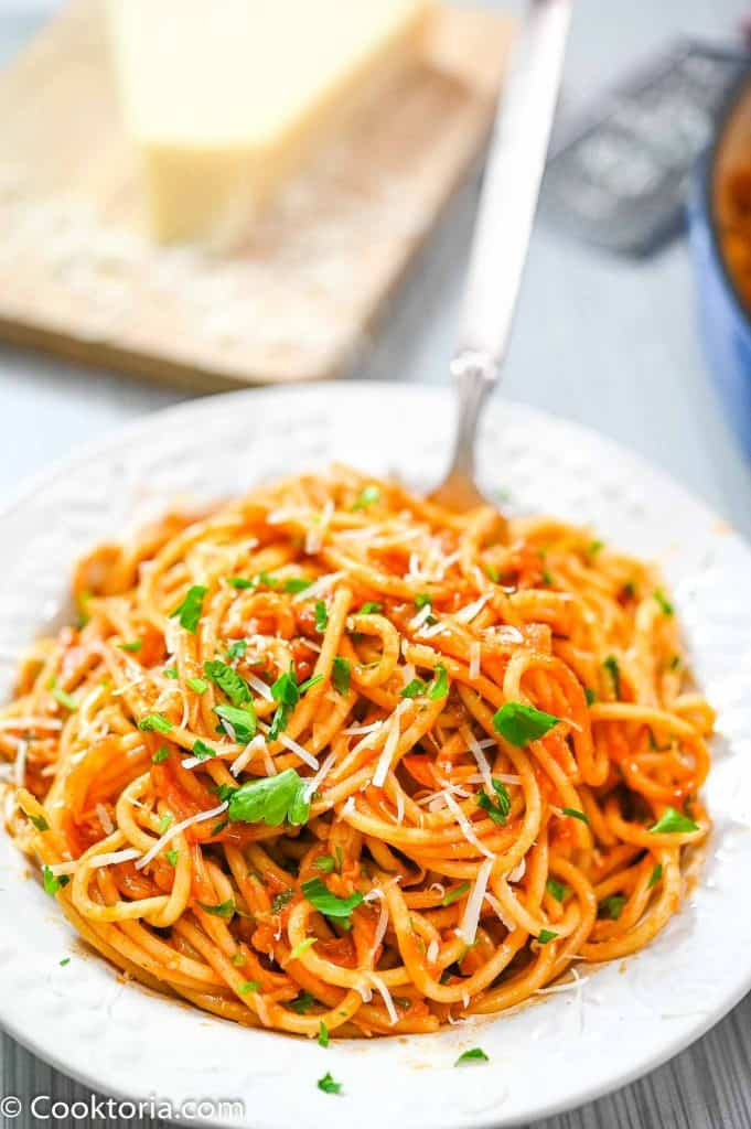Pasta with Tomato Sauce in white plate