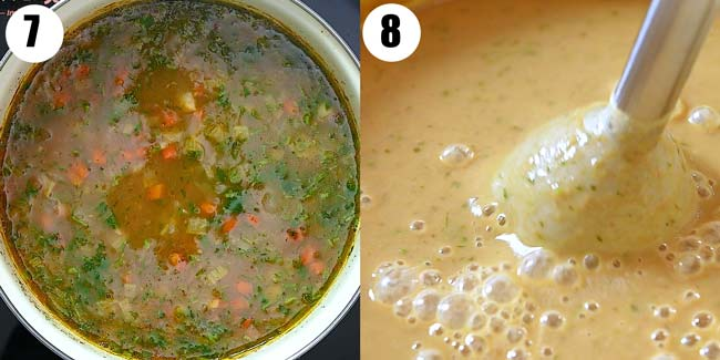 blending soup with immersion blender