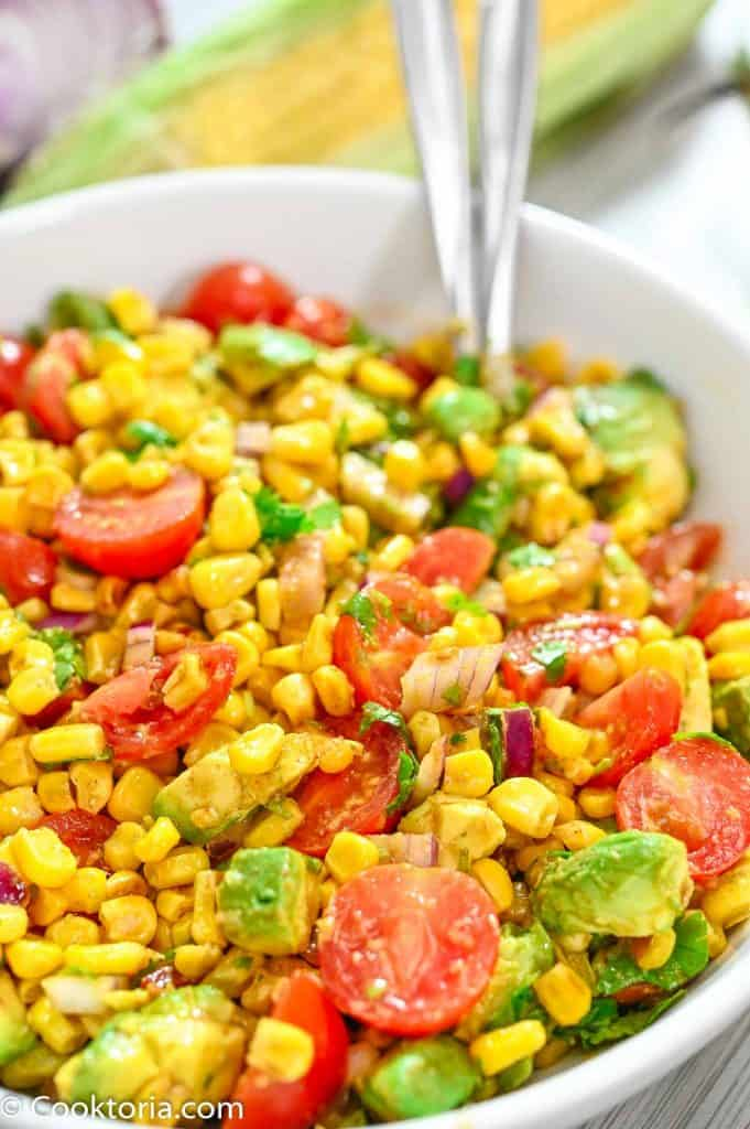 Avocado Corn Salad in a white bowl