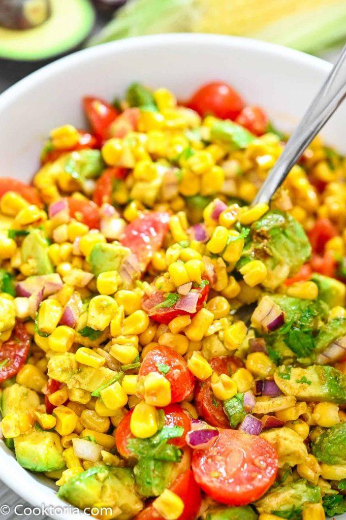 Corn Salad on a spoon