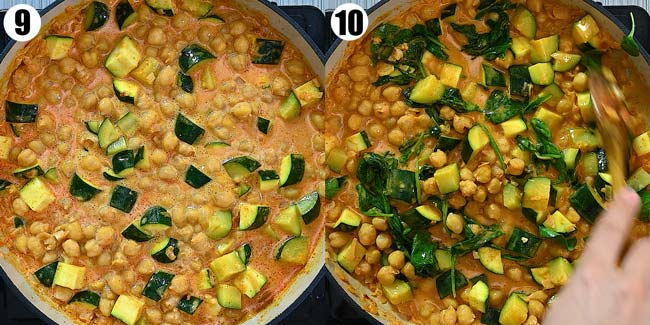 adding chickpeas and spinach