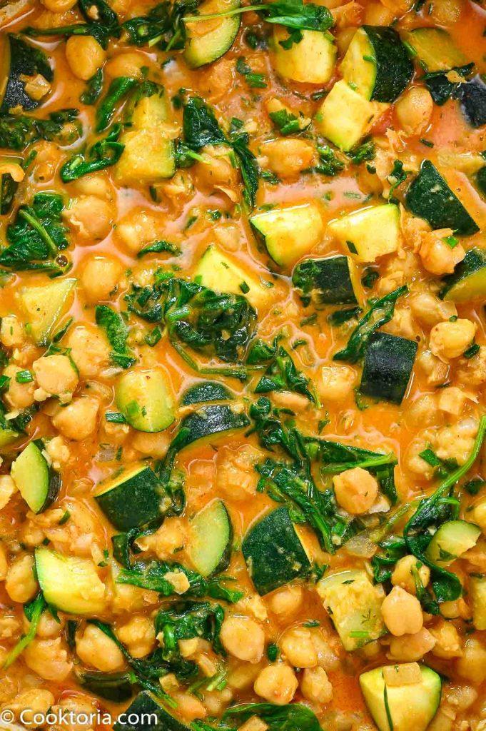 Zucchini Chickpea Curry close up shot