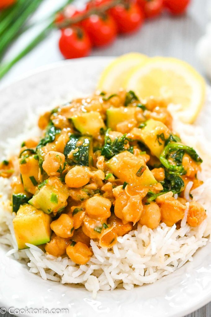 Zucchini Chickpea Curry on top of rice