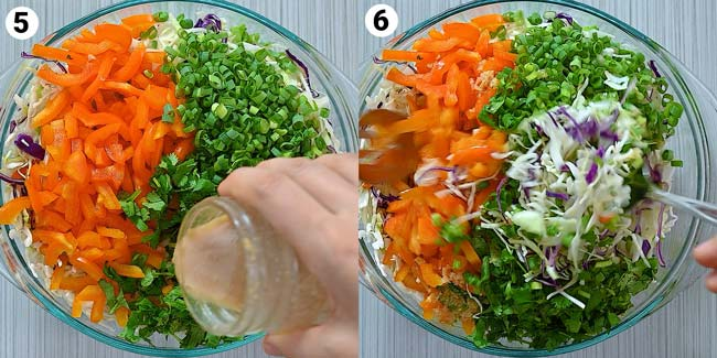 adding the dressing to the salad