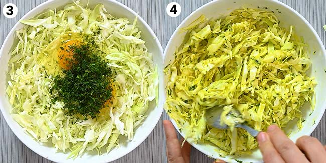 adding eggs and flour to the cabbage