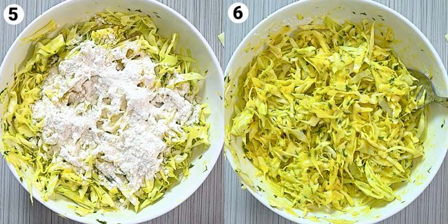 mixing the flour and cabbage
