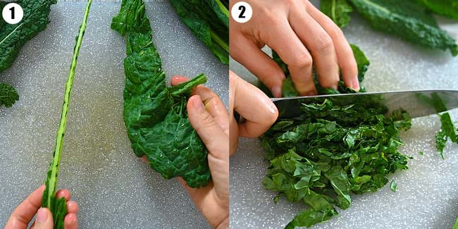 cutting kale for the salad