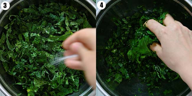 massaging the kale with salt