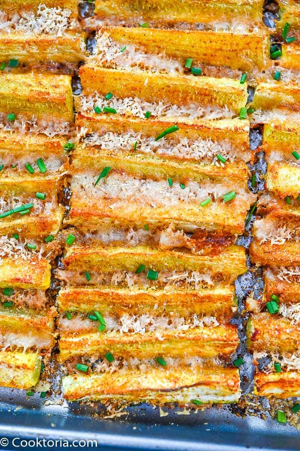 Parmesan Zucchini on a baking tray
