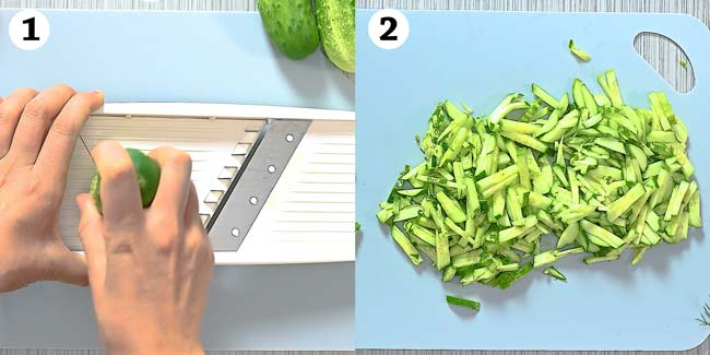slicing cucumbers with mandoline