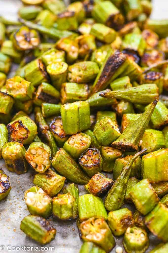 roasted okra on a tray