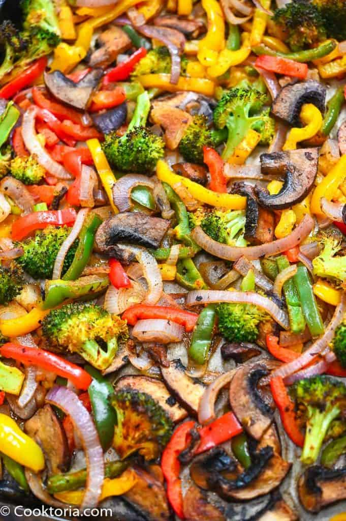 Fajita Vegetables on a baking sheet