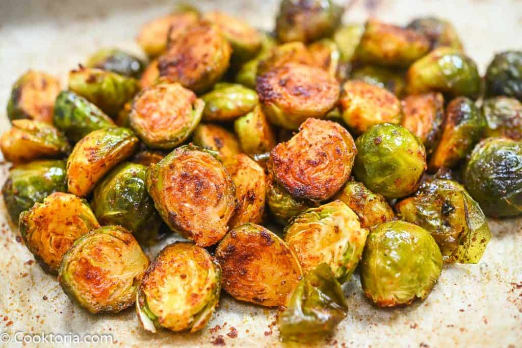 Roasted Brussels Sprouts on a parchment paper