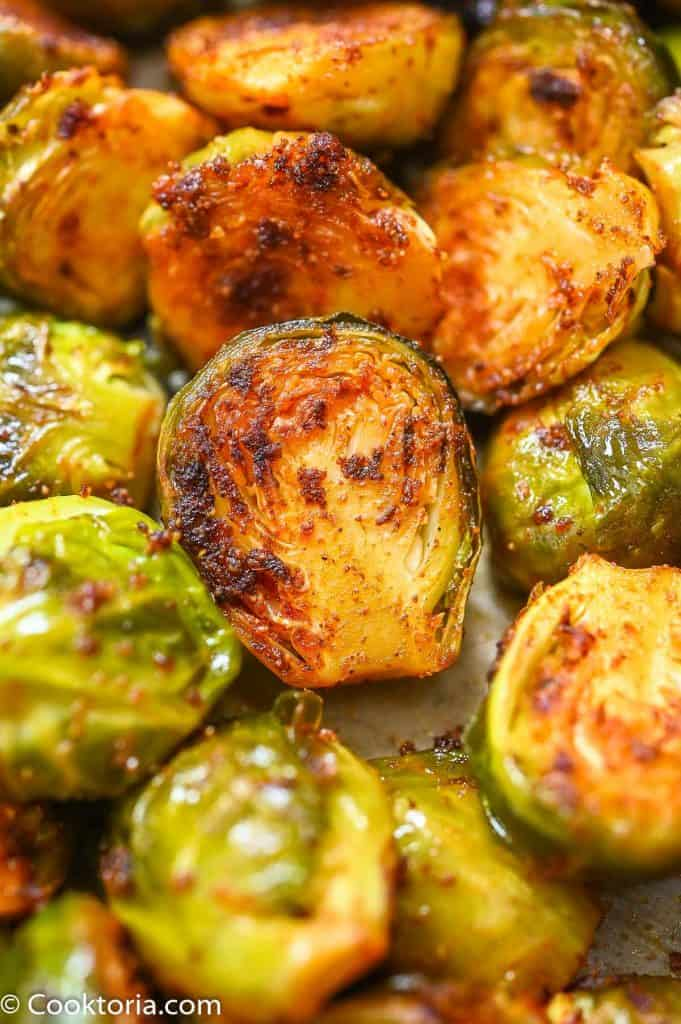 Roasted Brussels Sprouts close up shot