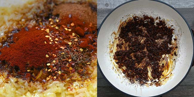adding the spices to the onions