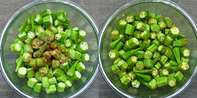 seasoning the okra