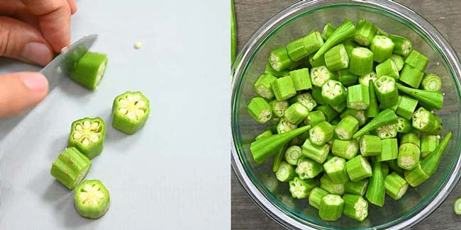 cutting okra into pieces