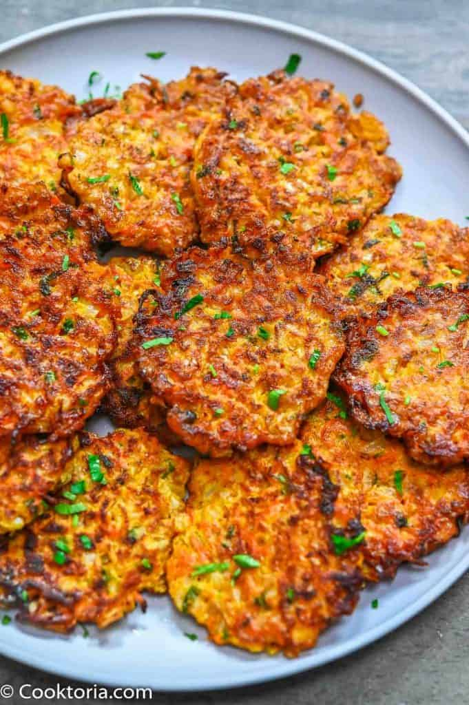 Onion Fritters on a grey plate